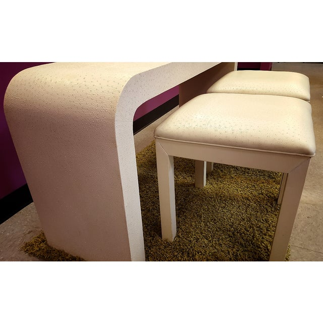 Bedell Faux Ostrich Console Table with Stools - Image 3 of 6