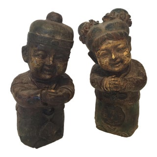Chinese Antique Cast Iron Figurines - A Pair