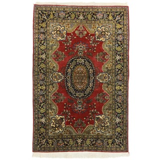 "RugsinDallas Fine Vintage Persian Kashan Rug - 4'7"" X 7'"