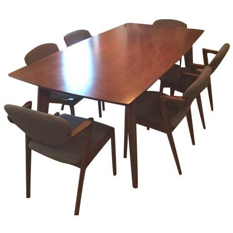 Mid-Century Modern Wooden Dining Set - Image 1 of 5