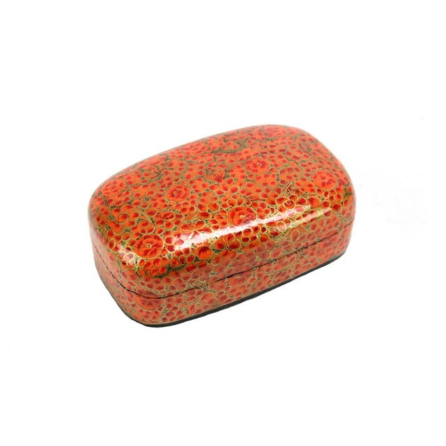 Image of Hand Painted Amber Kashmiri Accent Box
