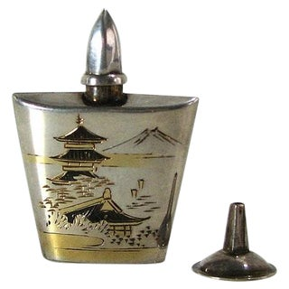 1930s Sterling Asian Perfume Bottle, Dropper & Box