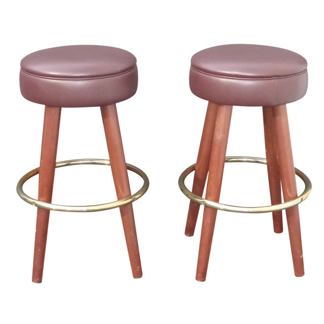 Mid-Century Modern Brown Vinyl Bar Stools - A Pair - Image 1 of 11