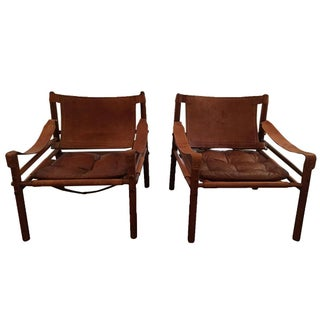Arne Norell Leather Safari Chairs - A Pair