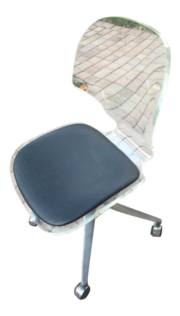 lucite office chair. lucite u0026 chrome swivel desk chair office