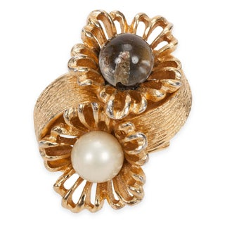Vendome Glass & Faux-Pearl Ring - Size 5/6