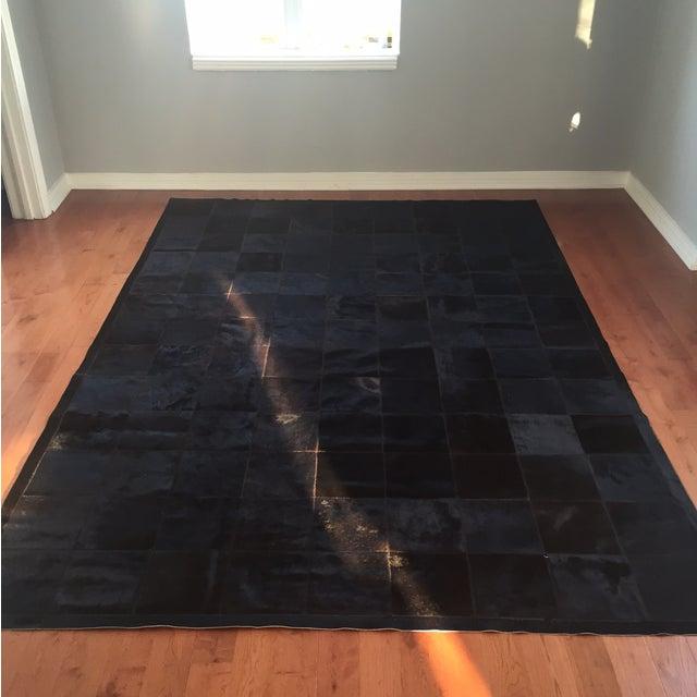 Cow Hide Tile Rug - Dark Brown 6' X 9' - Image 3 of 6