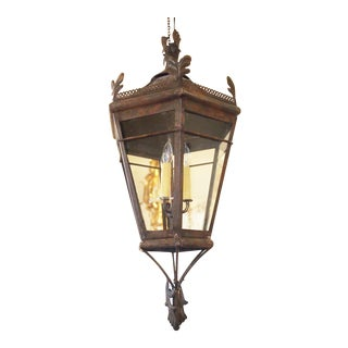 Large Hexagonal Lantern Embellished with Foliate Appliques