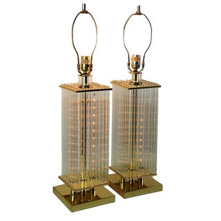 Sciolari-Style Glass Rod Table Lamps - A Pair