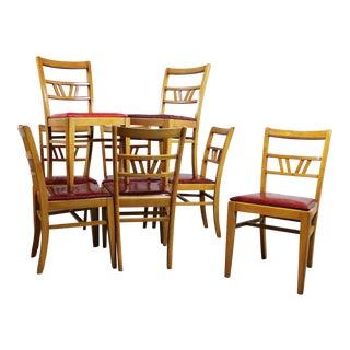 Vintage Mid-Century Light Mahogany Dining Chairs - Set of 8
