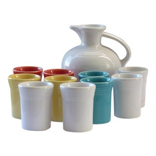 Fiesta Fiestaware Carafe & 10 Water Tumblers- Set of 11