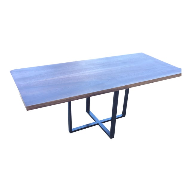 Contemporary Hardwood Table & Cube Base - Image 1 of 6