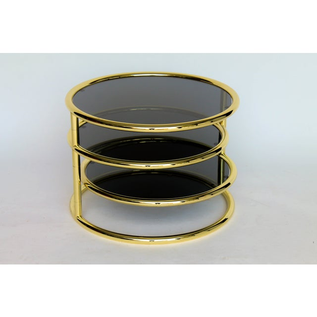 Image of Three-Tier Smoked Glass & Brass Swivel Side Table