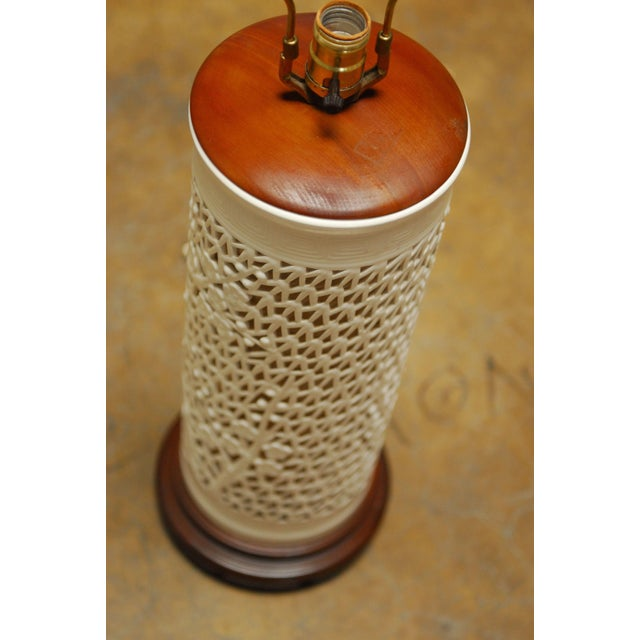 Blanc De Chine Reticulated Porcelain Table Lamp - Image 4 of 7