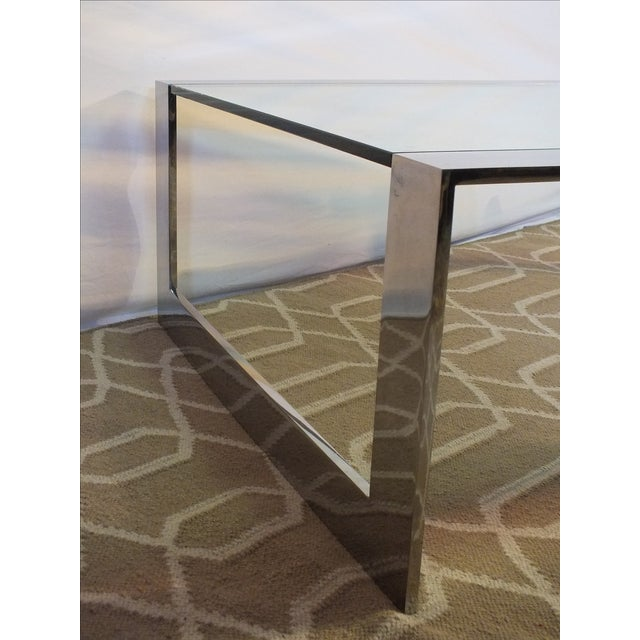 Mid-Century Modern Chrome & Glass Cocktail Table - Image 8 of 10
