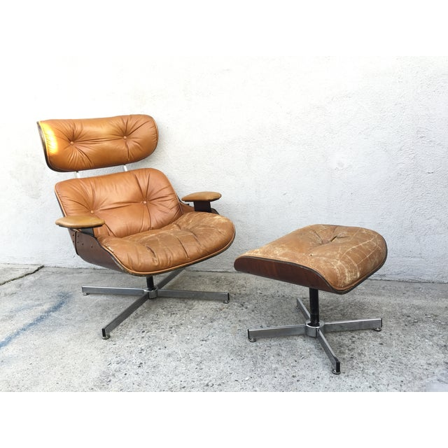 Image of Plycraft Mid-Century Recliner Chair & Ottoman