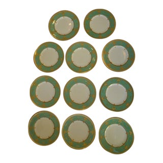 Set of Eleven Royal Worcester Presentation Green Dinner Plates