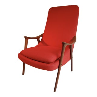 Red Danish Modern Lounge Chair