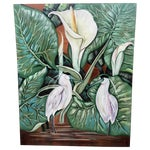 Image of Cranes and Calla Lillies Painting