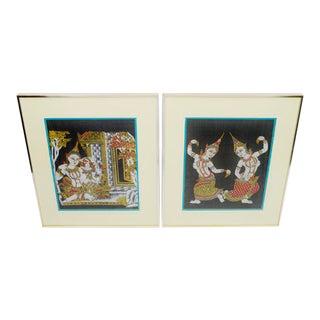 Vintage Thai Dancers Silk Screen - A Pair