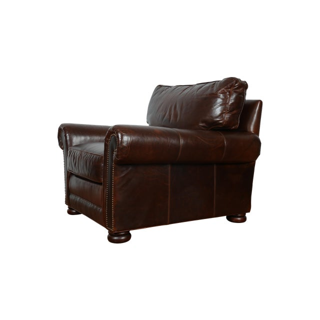 Brown Leather Chair With Ottoman - Image 1 of 11