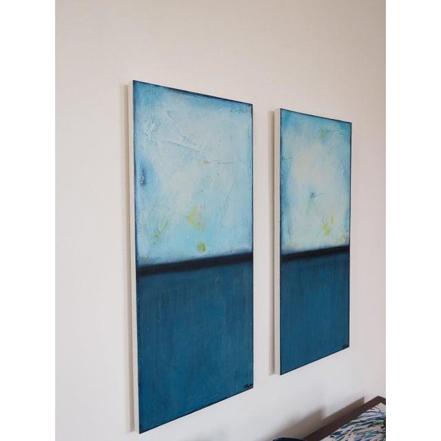 Blue Velvet Sunrise, I & II. Mixed Media Oil on Panel - Pair - Image 4 of 11