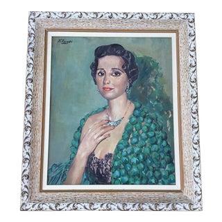 1950s Mid-Century Framed Fine Art Portrait Painting