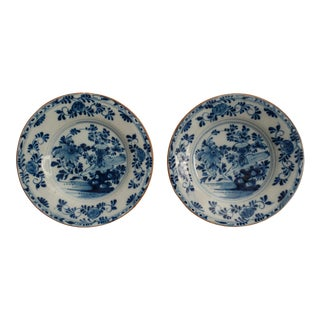 18th-Century Dutch Delft Faience Plates - a Pair