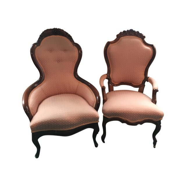 Antique Victorian Parlor Chairs - A Pair - Image 1 of 6 - Antique Victorian Parlor Chairs - A Pair Chairish