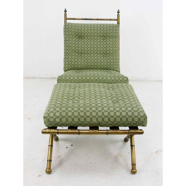 Italian-Style Faux Bamboo Lounge Chair & Ottoman - Image 3 of 9