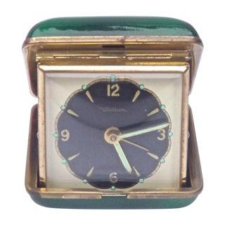 MCM Enamel & Brass Waltham Travel Clock