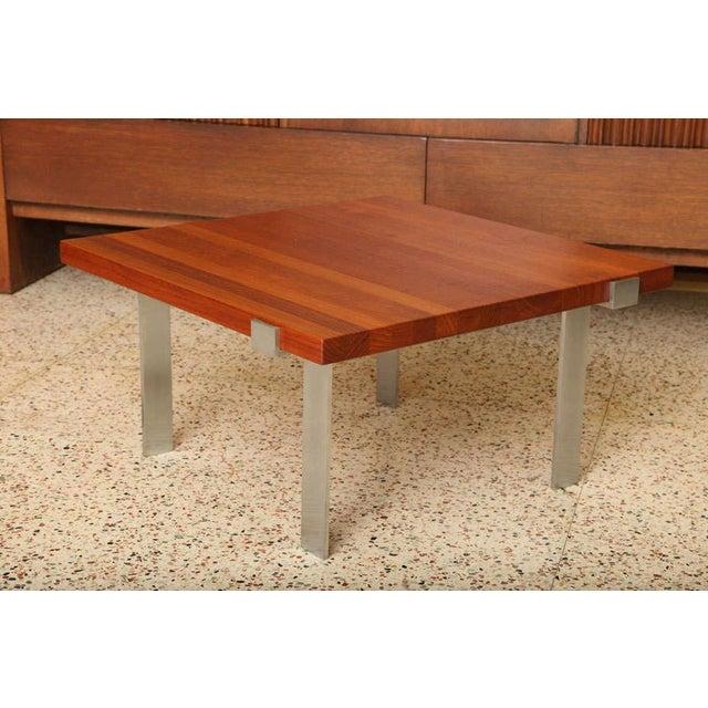 Image of Fine Illum Wikkelsø Teak& Stainless Steel Cocktail Table by Mikael Laursen