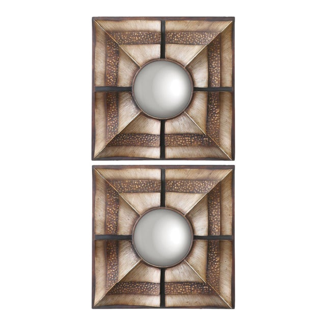 Euthalia Square Wall Mirrors - A Pair - Image 1 of 3