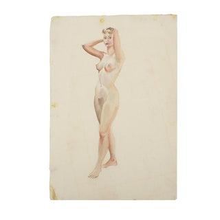 Original Nude Woman Watercolor Painting