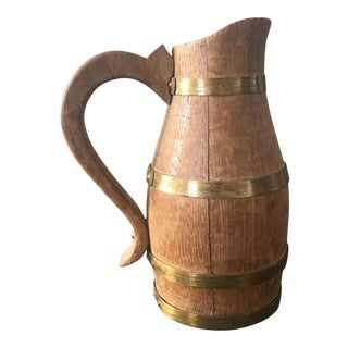 Antique Rustic Wooden Water Pitcher