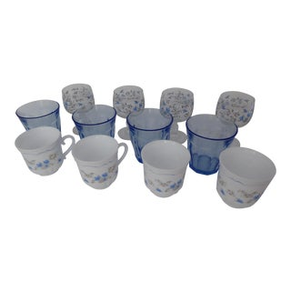 12 French Vintage Blue/White Cups & Glasses - Set of 4 Each