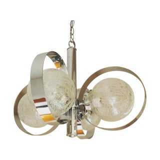 Chrome and Crackled Glass Globe Chandelier