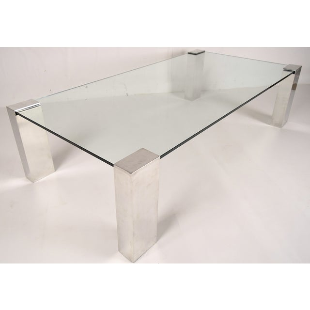 Mid-Century Modern Chrome & Glass Coffee Table - Image 2 of 6