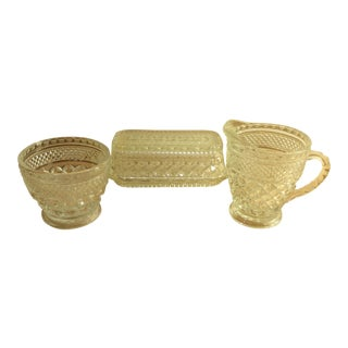 Anchor Hocking Wexford Pattern Butter Dish, Creamer & Sugar Bowl - Set of 3