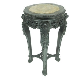 Large Antique Chinese Carved Rosewood & Marble Plant Stand