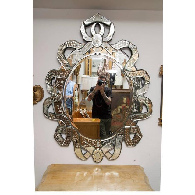 Venetian Etched Ribbon Design Wall Mirror - Image 8 of 9