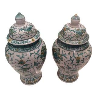 Vintage Green Asian Oriental Greek Key Hollywood Regency Ginger Jars - a Pair