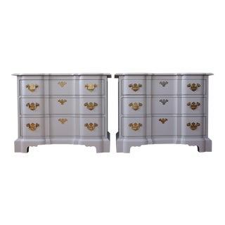 Vintage Drexel Heritage Modern Gray Nightstands - a Pair
