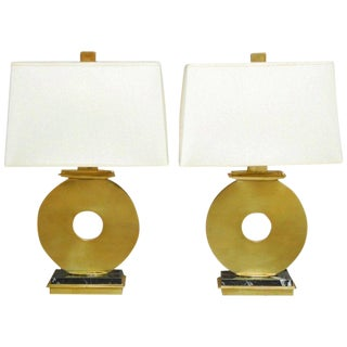 Pair of Robert Abbey Modern Brass and Marble Table Lamps