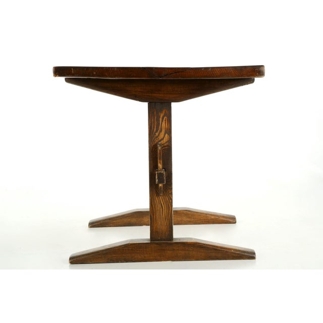 Arts & Crafts Solid Oak Trestle Writing Table - Image 3 of 10