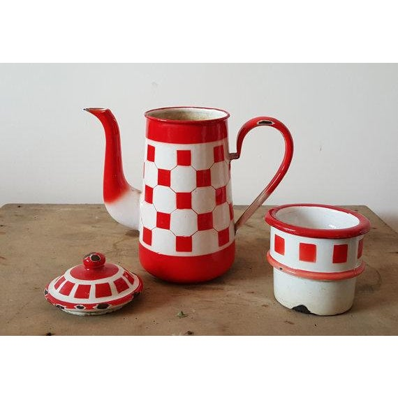 Red French Vintage Enamelware Coffee Pot - Image 4 of 4