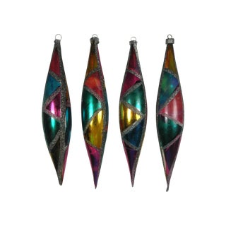Stained Glass Teardrop Ornaments - Set of 4