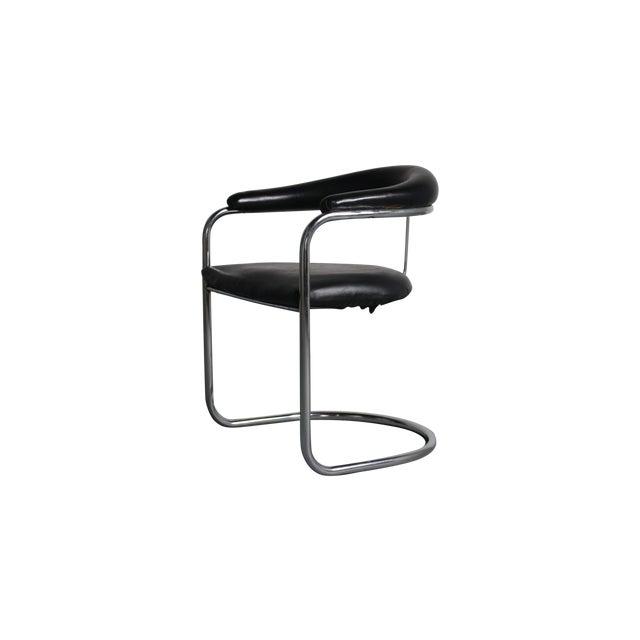 Image of Milo Baughman Mid Century Mod Black & Chrome Chair