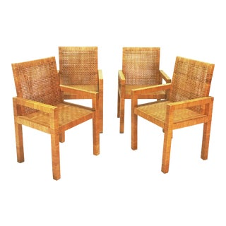 Billy Baldwin Style Wrapped Rattan Armchairs - Set of 4