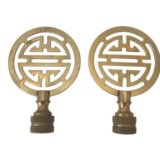 Brass Lamp Finials - A Pair